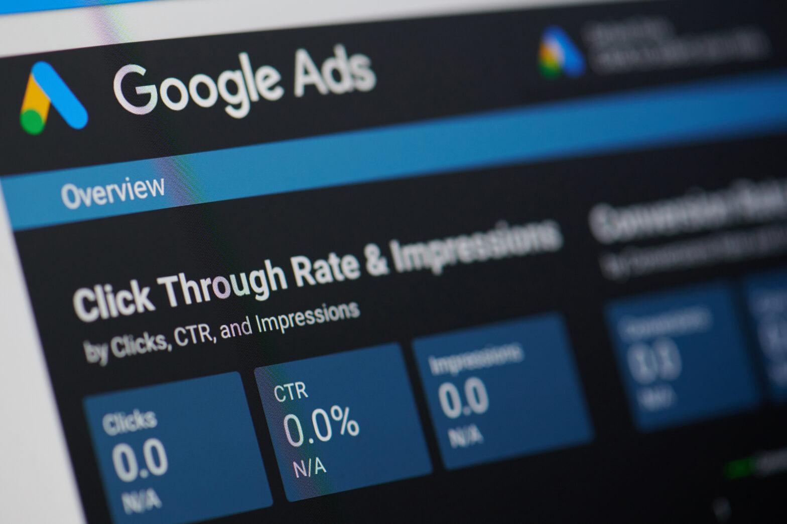 Google Ads data dashboard