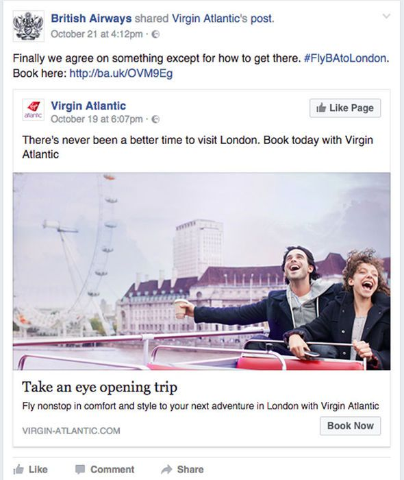 british airways facebook post