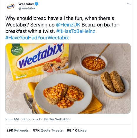 Weetabix tweet